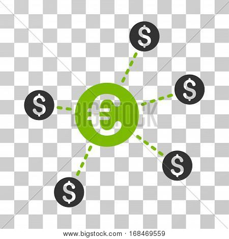 Currency Network Nodes icon. Vector illustration style is flat iconic bicolor symbol, eco green and gray colors, transparent background. Designed for web and software interfaces.