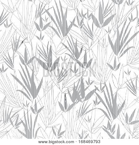 Vector Silver Grey Asian bamboo Kimono Seamless Pattern Background. Great for elegant gray texture fabric, cards, wedding invitations, wallpaper. Textile pattern design.