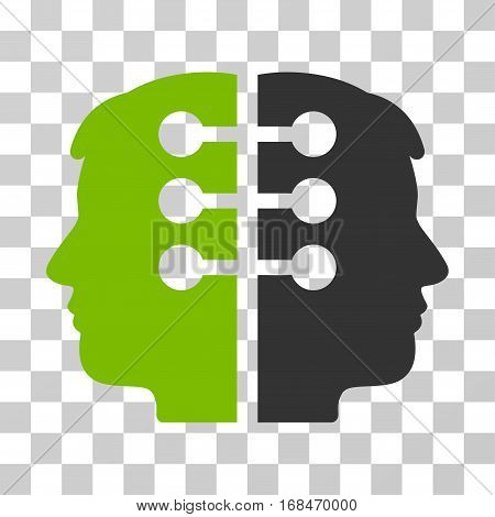 Dual Head Interface icon. Vector illustration style is flat iconic bicolor symbol, eco green and gray colors, transparent background. Designed for web and software interfaces.