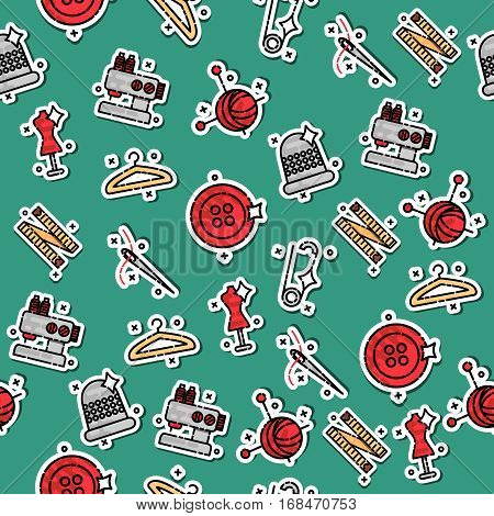 Colored sewing pattern. Sewing tools collection, colorful background vector. Fashion illustration, profession clothier. Decorative wallpaper, good for printing