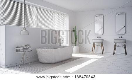 Scandinavian Bathroom, White Minimalistic Interior Design, Abstract Sketch