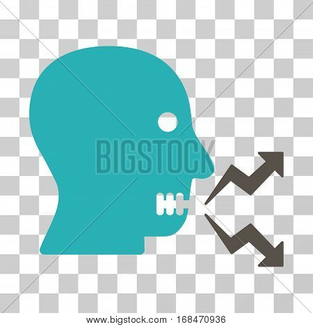 Angry Person Shout icon. Vector illustration style is flat iconic bicolor symbol, grey and cyan colors, transparent background. Designed for web and software interfaces.