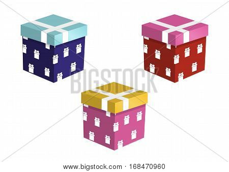 Set of Colorful Gift Boxes Isolated on White Background. Vector Illustration Design for Birthday, Children Party, Baby Shower, Wedding.