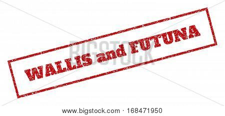 Red rubber seal stamp with Wallis and Futuna text. Vector tag inside rectangular banner. Grunge design and dust texture for watermark labels. Inclined sticker.