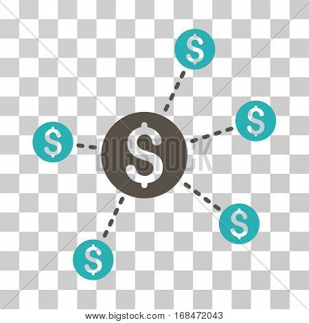 Dollar Network Nodes icon. Vector illustration style is flat iconic bicolor symbol, grey and cyan colors, transparent background. Designed for web and software interfaces.