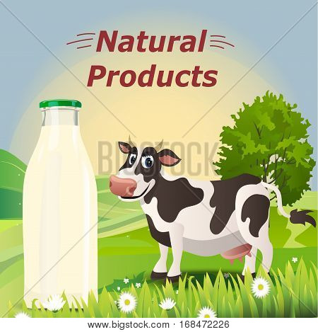 Very high quality original trendy vector illustration of cow and bottle of natural milk on rural meadow with green grass