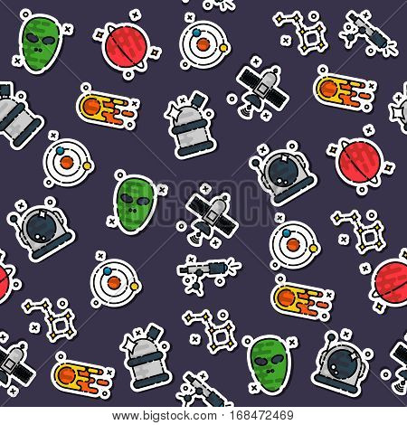 Colored space pattern. Illustration with rocket, aliens, shuttle, planet and stars. Astronomy white black background.
