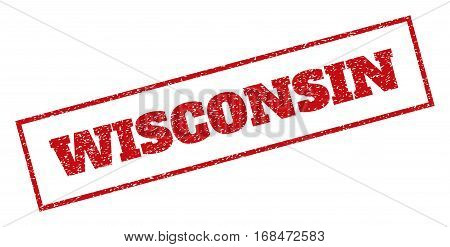 Red rubber seal stamp with Wisconsin text. Vector caption inside rectangular shape. Grunge design and unclean texture for watermark labels. Inclined emblem.