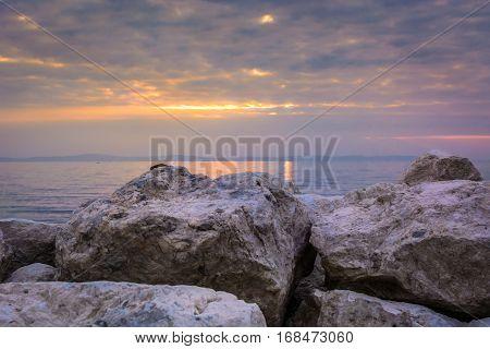 View at sunset over Adriatic Sea in Dalmatia region, Croatia.