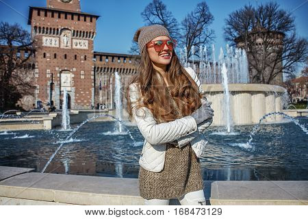 Happy Tourist Woman In Milan, Italy Looking Into Distance