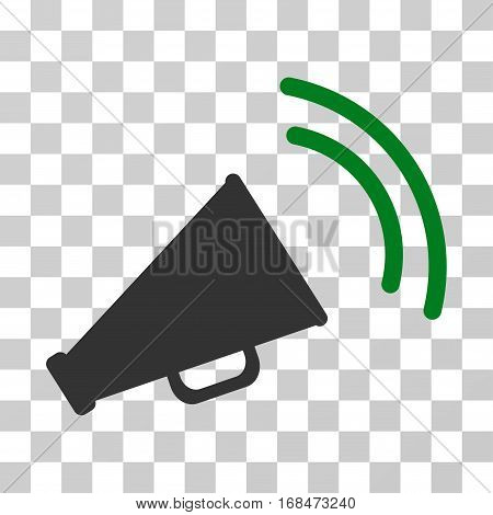 Announce Horn icon. Vector illustration style is flat iconic bicolor symbol, green and gray colors, transparent background. Designed for web and software interfaces.
