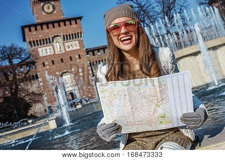 Rediscovering things everybody love in Milan. happy modern woman in Milan Italy having excursion