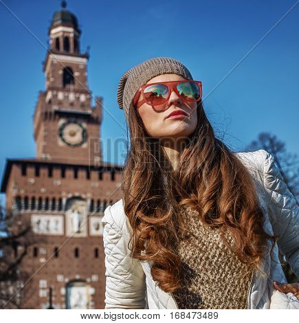 Traveller Woman Near Sforza Castle, Milan Looking Into Distance