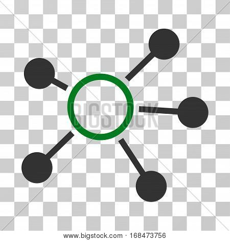Connections icon. Vector illustration style is flat iconic bicolor symbol, green and gray colors, transparent background. Designed for web and software interfaces.