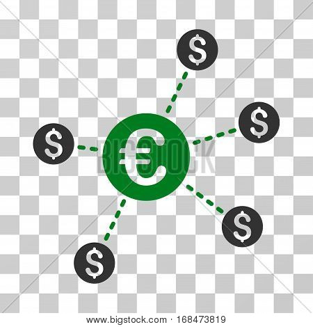 Currency Network Nodes icon. Vector illustration style is flat iconic bicolor symbol, green and gray colors, transparent background. Designed for web and software interfaces.