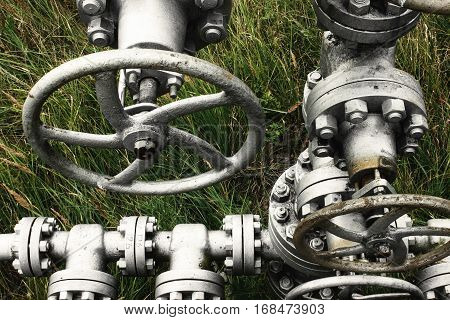 Metal Old Gas Or Oil Pipeline With Valve Pumps, Gasoline Industry,  Industrial Background