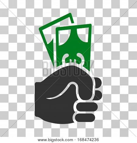 Euro Banknotes Salary icon. Vector illustration style is flat iconic bicolor symbol, green and gray colors, transparent background. Designed for web and software interfaces.