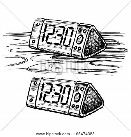 Sketch vector digital clock on the table. Stock image isolated on a white background.