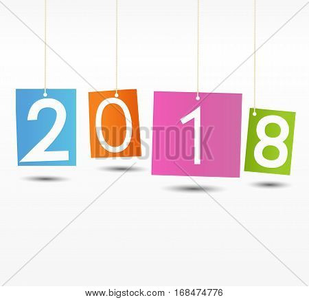Happy New Year 2018 background.Colorful Greeting card. Vector illustration.