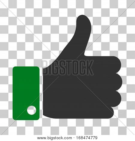 Thumb Up icon. Vector illustration style is flat iconic bicolor symbol, green and gray colors, transparent background. Designed for web and software interfaces.