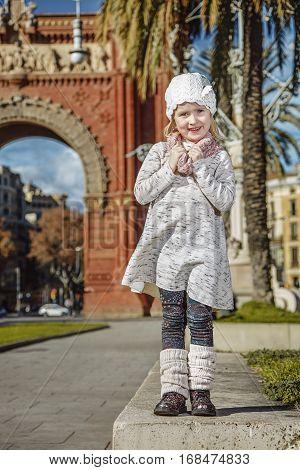 Happy Trendy Girl In Barcelona, Spain Standing
