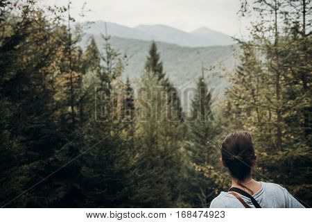 Wanderlust And Travel Concept With Space For Text. Hipster Traveler Looking At Woods And Mountains,
