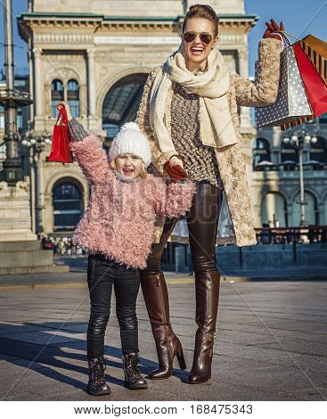 Smiling Mother And Daughter Travellers In Milan Rejoicing