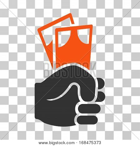 Banknotes Salary Hand icon. Vector illustration style is flat iconic bicolor symbol, orange and gray colors, transparent background. Designed for web and software interfaces.
