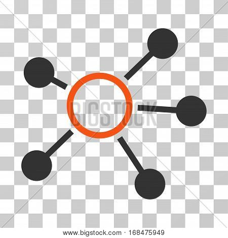Connections icon. Vector illustration style is flat iconic bicolor symbol, orange and gray colors, transparent background. Designed for web and software interfaces.