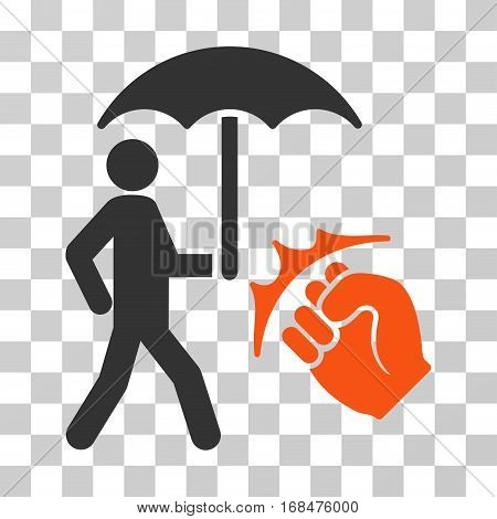 Crime Coverage icon. Vector illustration style is flat iconic bicolor symbol, orange and gray colors, transparent background. Designed for web and software interfaces.