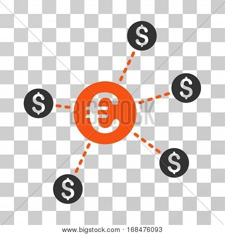 Currency Network Nodes icon. Vector illustration style is flat iconic bicolor symbol, orange and gray colors, transparent background. Designed for web and software interfaces.