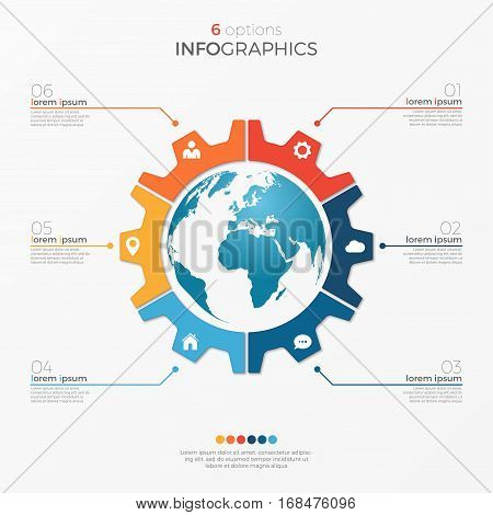 Circle Chart Infographic Template With Globe 6 Options For Presentations, Advertising, Layouts, Annu
