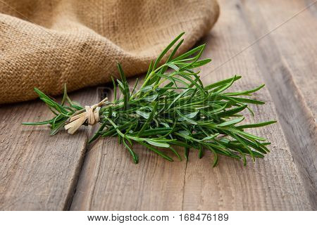 Rosemary bound, plant on a wooden background.
