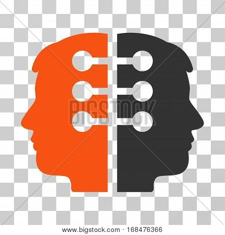 Dual Head Interface icon. Vector illustration style is flat iconic bicolor symbol, orange and gray colors, transparent background. Designed for web and software interfaces.