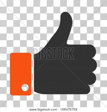 Thumb Up icon. Vector illustration style is flat iconic bicolor symbol, orange and gray colors, transparent background. Designed for web and software interfaces.