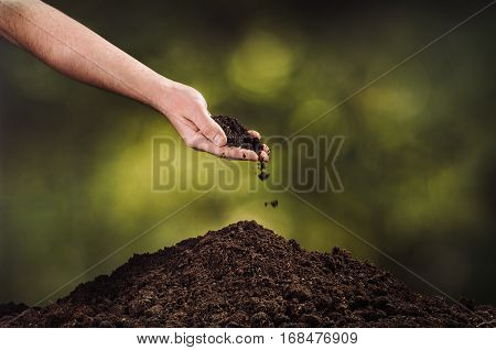Hand pouring black soil on green bokeh background. Planting a small plant on a pile of soil or pouring soil during funeral. Gardening backdrop for advertising.