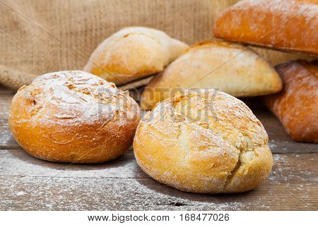 fresh bun on a wooden old background