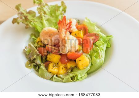 Fresh Shrimp Salad with iceberg lettuce and tomato