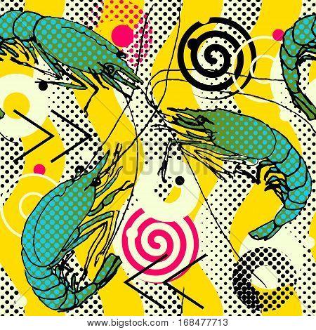 Shrimps. Seamless Pattern Background. Shrimps Hand-drawn Sketch Geometric Waves Motif. Drawn Illustr