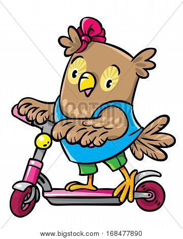 Little Funny Owl Rides A Scooter