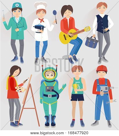 Set with people of different professions (vector illustration)