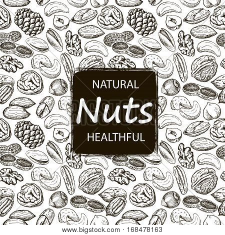 Nuts set seamless pattern. Hand drawn vintage illustration. Natural and healthful nuts background. Line art style.