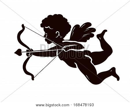 Silhouette angel, cupid or cherub with bow and arrow. Vector illustration isolated on white background