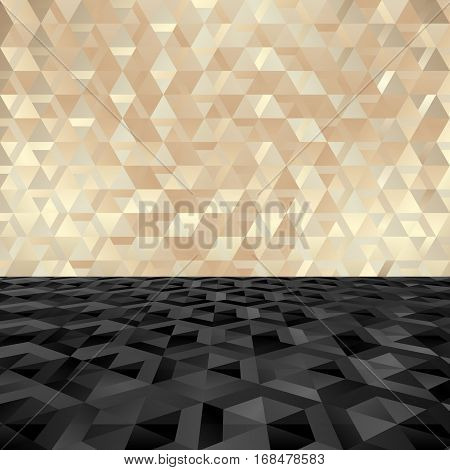 golden and black geometric textured background - vector illustration
