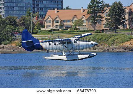 Seaplane landing in Victoria harbour, Vancouver Island