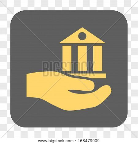 Bank Service interface toolbar button. Vector icon style is a flat symbol in a rounded square button yellow and gray colors chess transparent background.