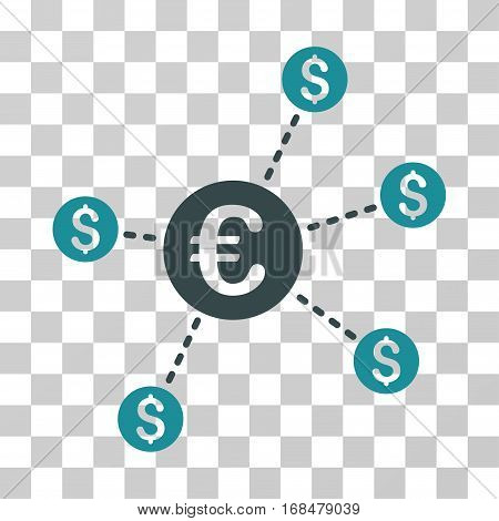 Currency Network Nodes icon. Vector illustration style is flat iconic bicolor symbol, soft blue colors, transparent background. Designed for web and software interfaces.