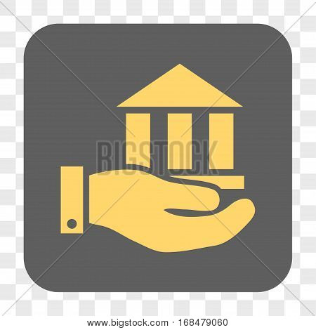 Bank Service interface toolbar button. Vector icon style is a flat symbol on a rounded square button yellow and gray colors chess transparent background.