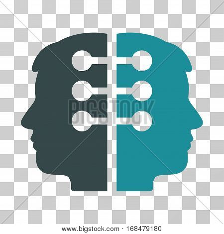 Dual Head Interface icon. Vector illustration style is flat iconic bicolor symbol, soft blue colors, transparent background. Designed for web and software interfaces.