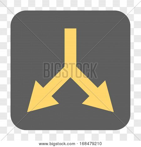Bifurcation Arrow Down interface toolbar button. Vector icon style is a flat symbol inside a rounded square button yellow and gray colors chess transparent background.